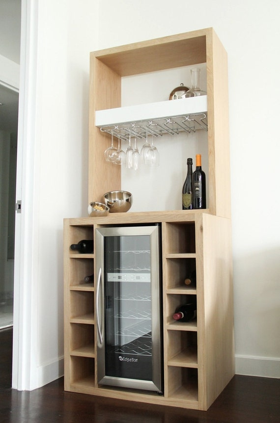 White Oak Bar With Built In Wine Cooler And Glass Rack Etsy
