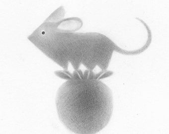 Mouse with Poppy Pod - Original drawing