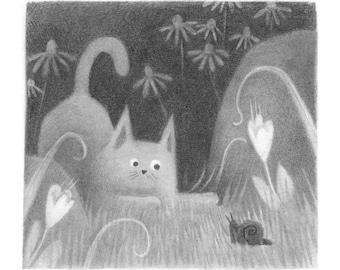 Cat v. Snail - Original drawing