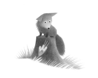Fox on a Stump - 5x5 print