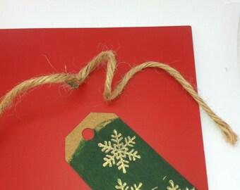 Gold snowflakes-green-holiday tags (set of 6)