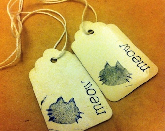 Black cat gift tag // party favor // gift label // set of 20