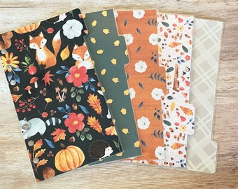 Fall Foxes Planner Dividers, set of 6, Filofax Dividers, Personal Size, Kiki K Medium, Planner Accessories