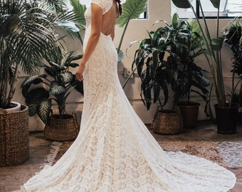 0549069b4 Ivory Lace Bohemian BACKLESS WEDDING GOWN. simple and elegant wedding dress  with open back and long elegant train. Cap sleeves. Ivory Lace