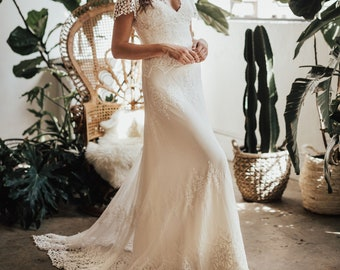 c0637f3a2fc4f Azalea Lace Bohemian Wedding Dress | Cotton Lace with OPEN BACK | Handmade  | Boho Beach Wedding Dress
