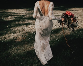 Lisa Lace Bohemian Wedding Dress | Cotton Lace with OPEN BACK and SILK liner | Handmade |  Long Sleeve Boho Beach Wedding Dress
