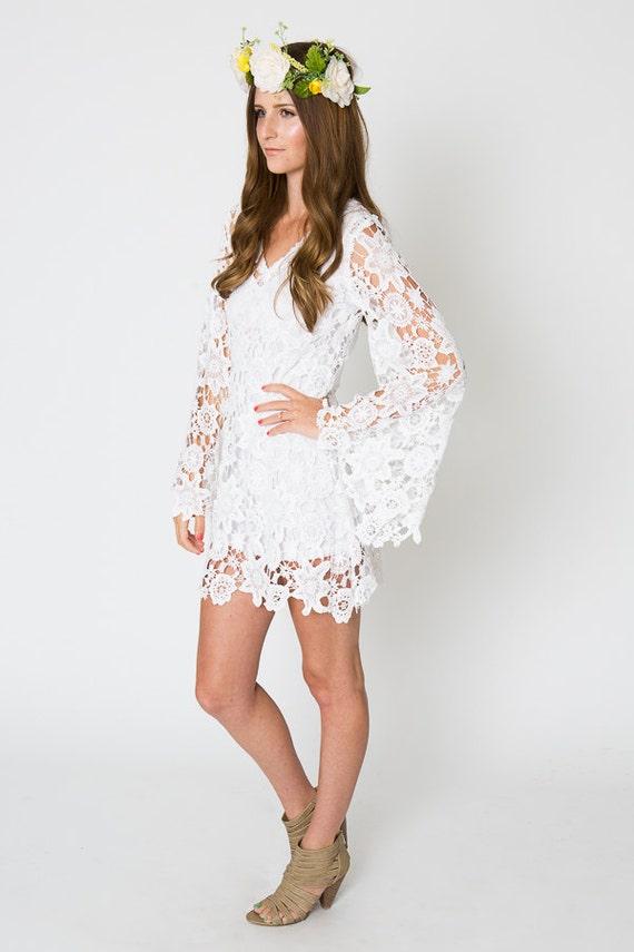 Lace Mini Dress Bell Sleeve Bohemian Wedding Dress Etsy