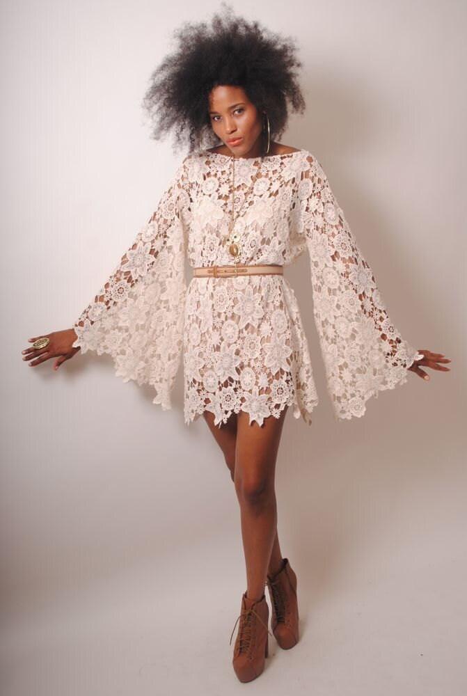 MANGA campana marfil encaje crochet hippie mini vestido de