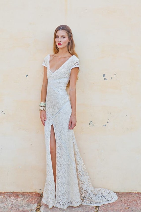 Stretch Lace Bohemian Wedding Dress | LACE GOWN with Train | Low Back and Front Slit | Ivory or White Bohemian Dress | Short Sleeves