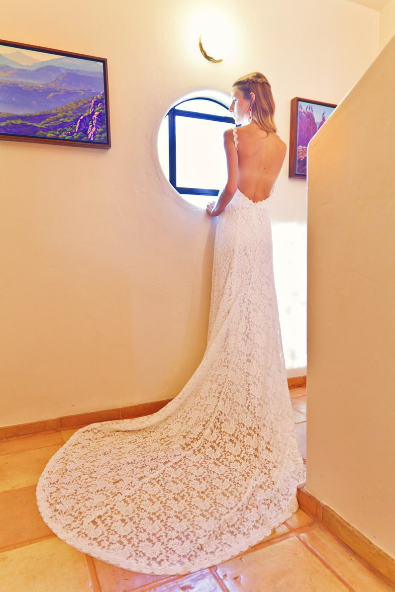 Lace Backless Wedding Dress. Plunge Scallop Front. LOW BACK  b664f6dcf