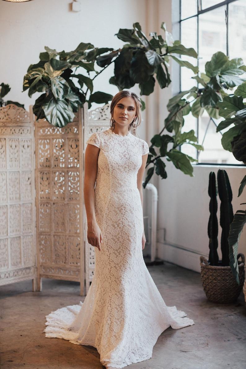 Agnes Illusion Lace Cap Sleeves Wedding Dress Vintage Etsy