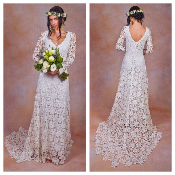 Items Similar To Rustic BOHO WEDDING DRESS. Simple Crochet