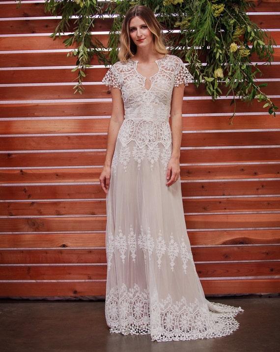 Azalea Lace Bohemian Wedding Dress Cotton Lace with OPEN   Etsy