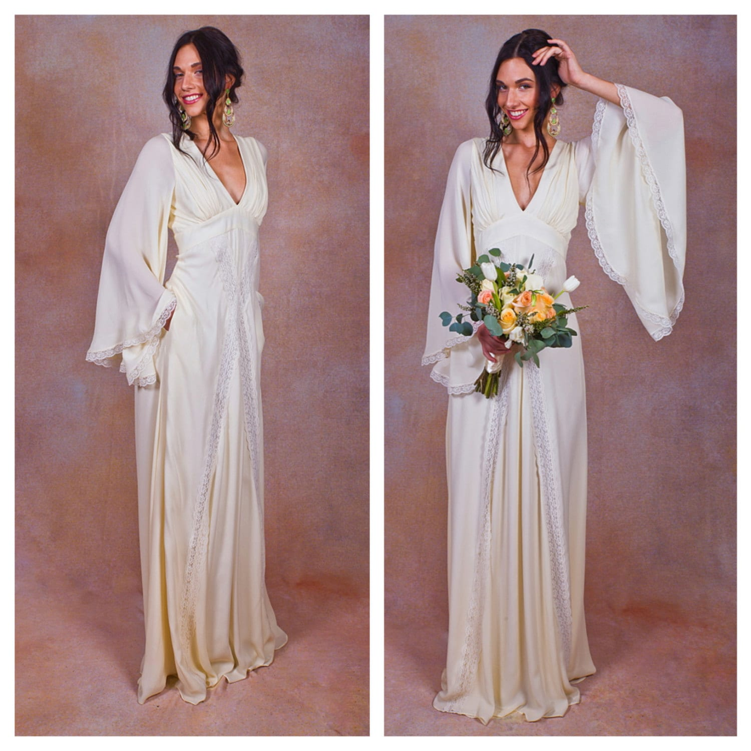 Ivory Wedding Gowns: Ivory Pure Silk Bohemian Wedding Dress. Bell ANGEL SLEEVES