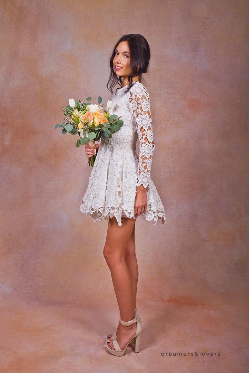 Daniela Lace SHORT WEDDING DRESS. ivory or white crochet lace  48437f5a1461
