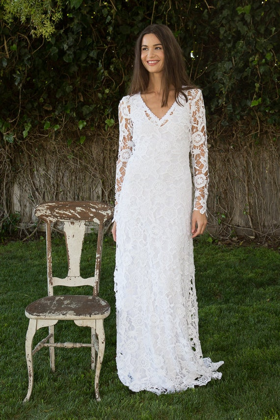 bohemian wedding dress. crochet lace long sleeve boho wedding | Etsy