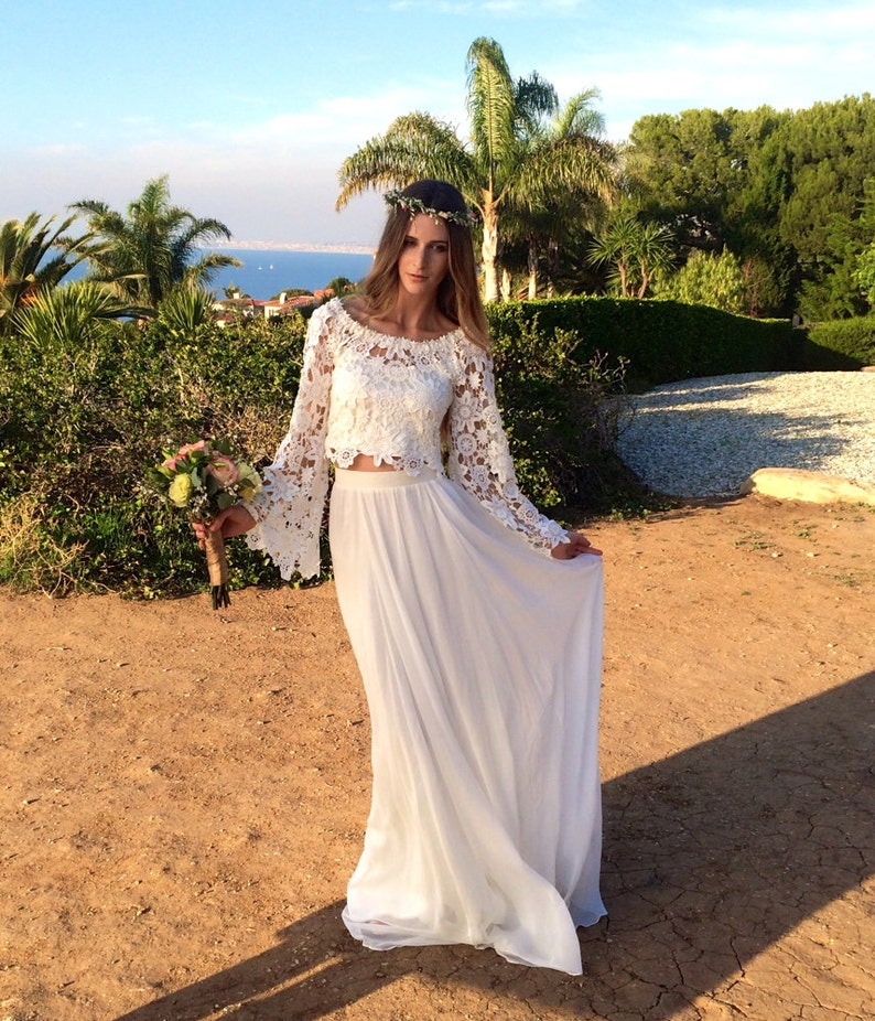 879c298a5b19b Alana 2-Piece Lace + Silk Chiffon Bohemian Wedding Dress. BELL SLEEVE  hippie boho style wedding dress. DREAMY off shoulder wedding gown.