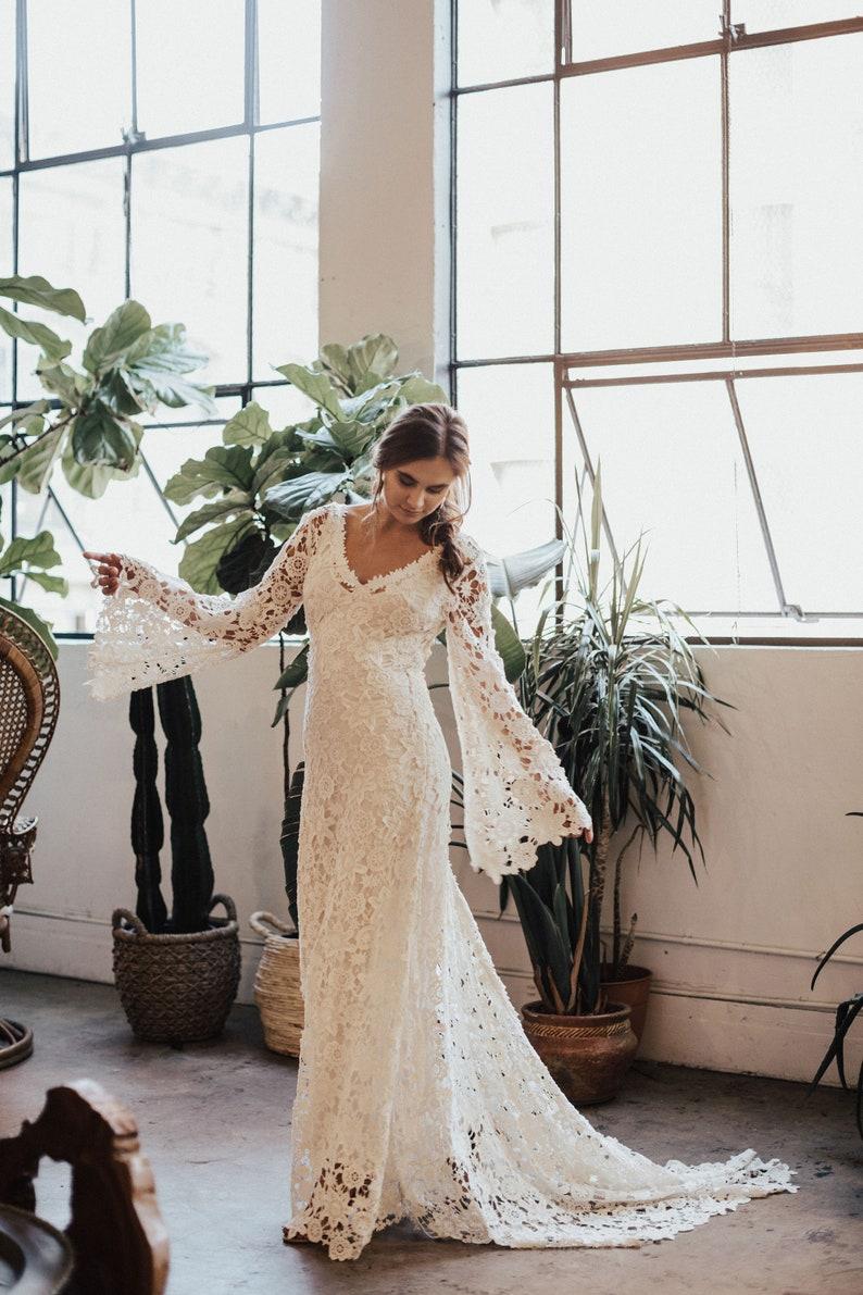 9936a07b9e63 Arabelle BOHO WEDDING DRESS Bell Sleeve Lace Bohemian | Etsy