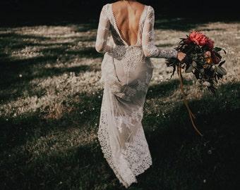 A FAVORITE Lisa Lace Bohemian Wedding Dress | Cotton Lace with OPEN BACK | Handmade |  Long Sleeve Boho Beach Wedding Dress