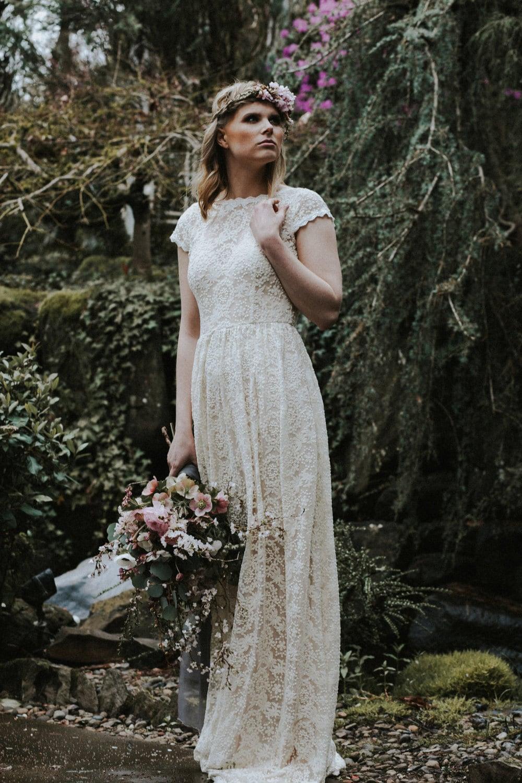 Catherine Simple BOHEMIAN Wedding Dress   Boho Wedding Gown with POCKETS   Backless Wedding Dress   Free CUSTOM Made to measure   Size 20   20