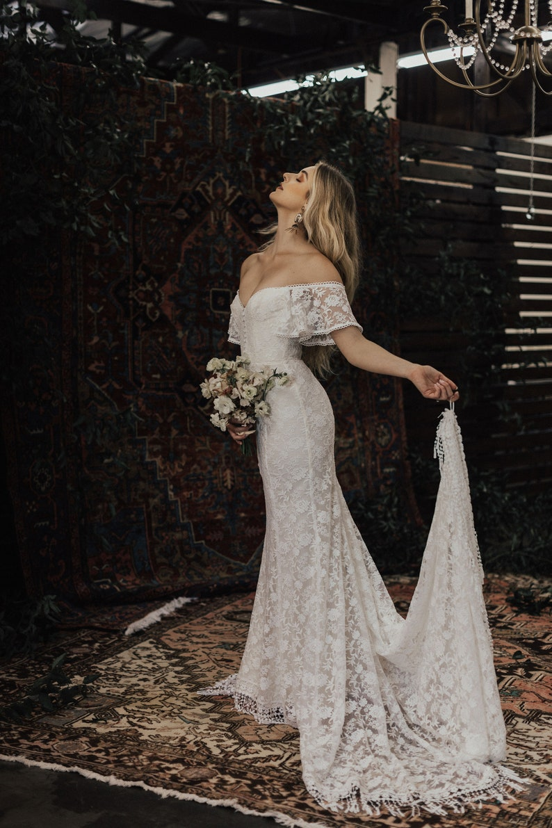 Callista Bohemian Wedding Dress Off Shoulder Lace Boho Wedding Gown With Fringe Hem And Buttons Made To Measure In California Size 0 18