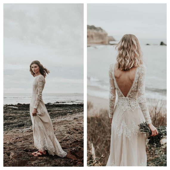 Lisa Lace Bohemian Wedding Dress Cotton Lace With Open Back Etsy