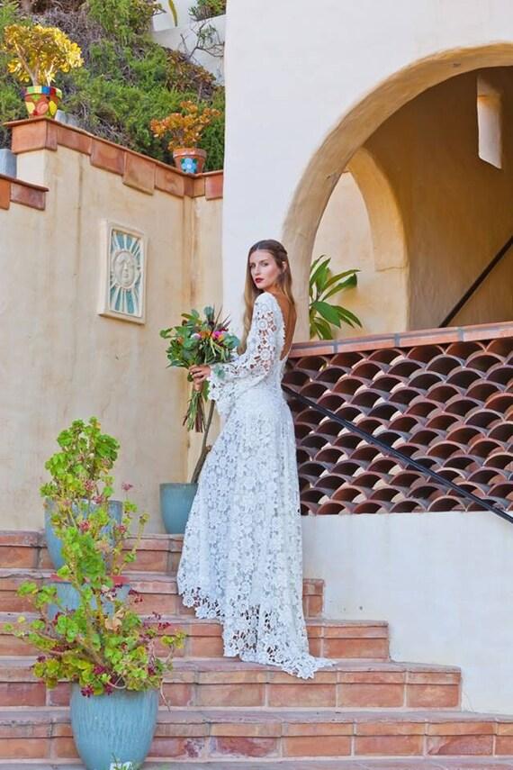 Crochet Lace Bohemian Wedding Dress Open Back With Boho Bell Etsy