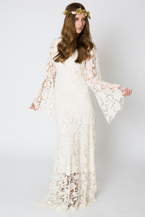 Vintage Inspired Bohemian Wedding Gown Bell Sleeve Lace Etsy