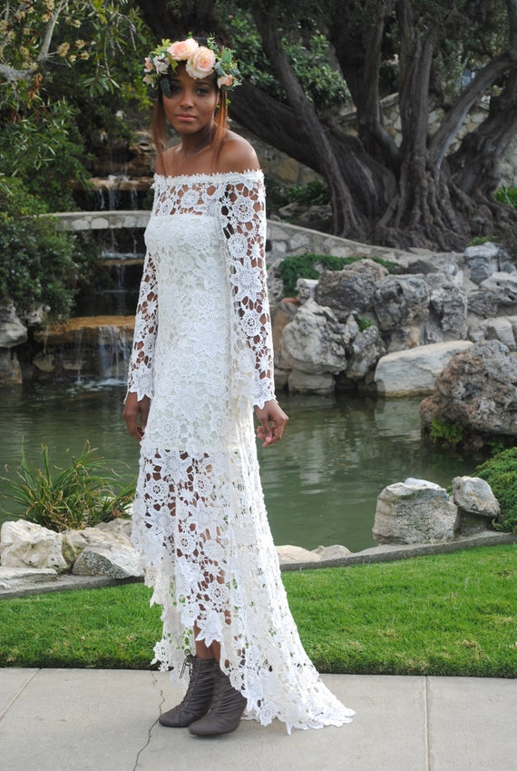 High Low Lace Bohemian Wedding Dress Off Shoulder Crochet Lace Hippy Hippie Wedding Dress Bell Sleeve Handmade Bohemian 70s Style