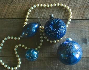 Set of 4 Antique Vintage Blue Mercury Glass Ornaments, 1940s, Antique Christmas Tree Ornaments
