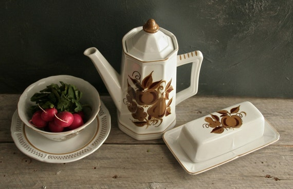 Vintage Mikasa Romano Terra Stone #7118 Coffee Pot, Bowl with Saucer and Butter Dish