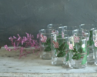 Very Rare Set of 10 Antique Federal Glass 6 oz. Juice Glasses, FEG27 Wild Rose, Handpainted, 1940s