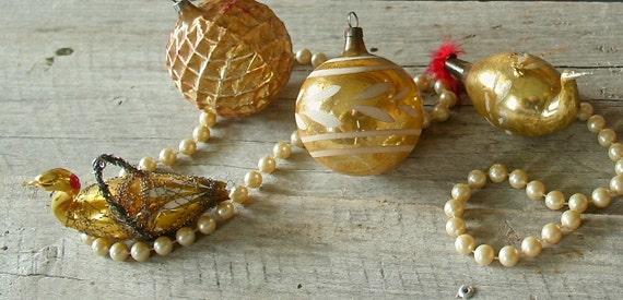 Four Vintage Christmas Ornaments, Gold Ornaments, Christmas Decor, Retro, Victorian Swan Ornament, 1930s