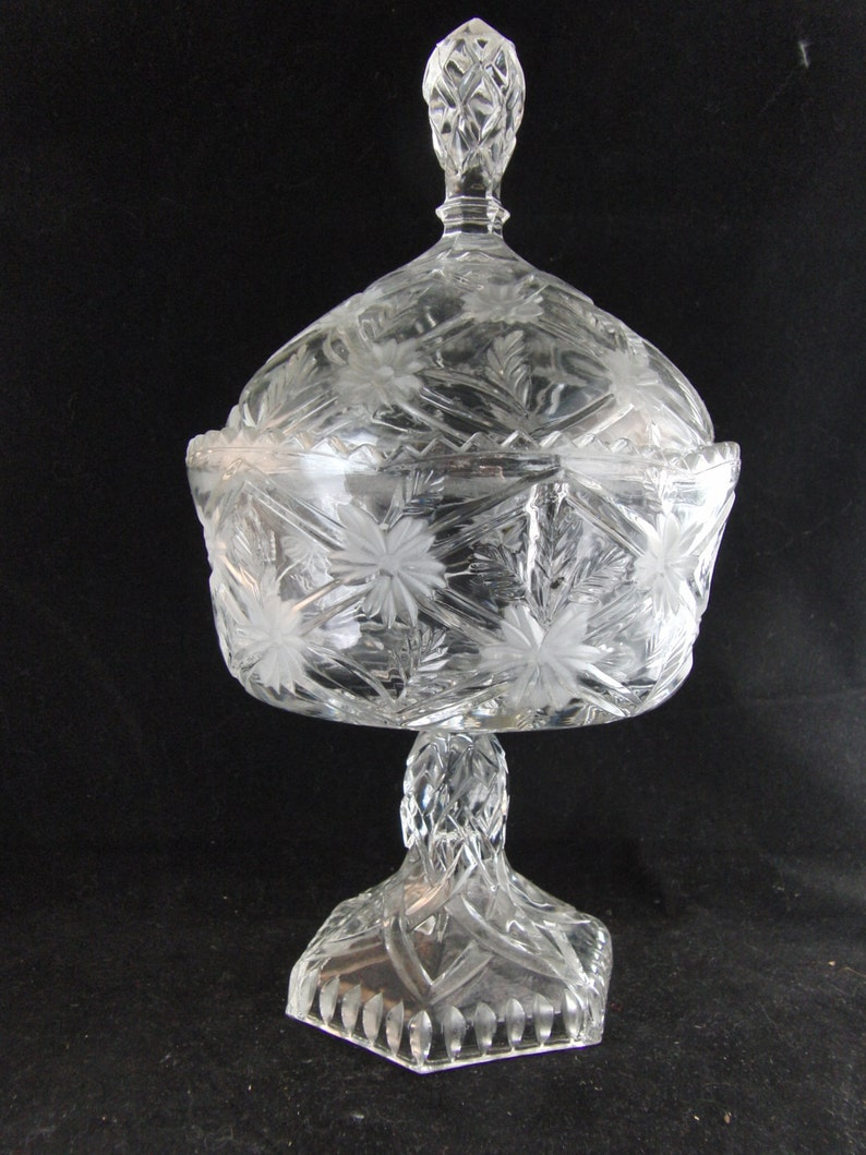 Vintage crystal candy bowl with cover