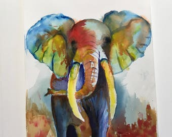 ON THE MOVE, watercolor of an elephant