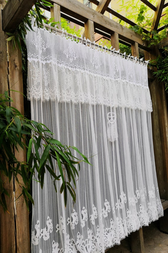 Victorian Gorgeous French Country Style Rustic Window Curtain Shower Wedding Hanging Backdrop White Battenburg Lace