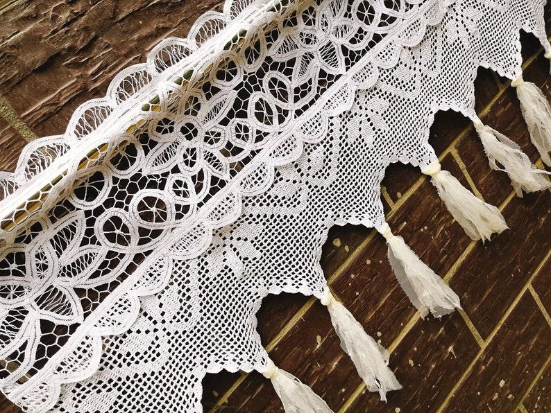 Boho Shabby Chic Victorian Cottage Valance Vintage Battenburg Lace Hand Crochet Window Curtain