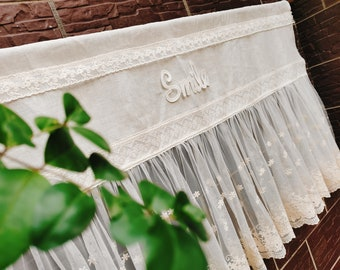 SMILE Day~Victorian Cottage~French Country Style Linen Window Curtain Doorway Curtain Kitchen Curtain Cafe Curtain Privacy Curtain~Ivory~
