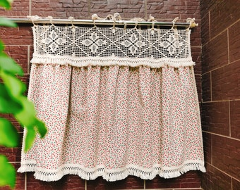 Old Fashion~Rustic Shabby Chic French Country Style Floral Window Curtain Ruffled Lace Kitchen Curtain Cafe Curtain Privacy Doorway Curtain~