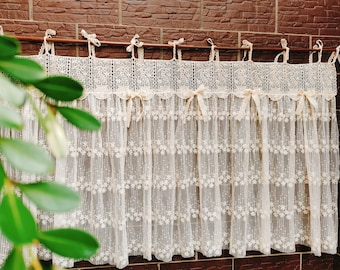 Old Time~Rustic Shabby Chic French Country Style Ruffled lace Window Curtain Valance Kitchen Curtain Doorway Curtain Cafe Curtain~Beige~