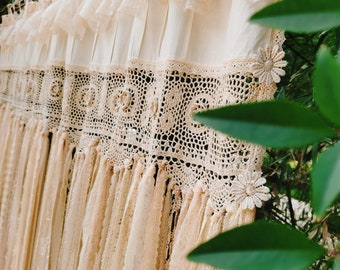 BOHO~Shabby Chic RUSTIC Cottage Farmhouse Long Window Curtain Shower Curtain Bed Decoration Room Divider Wedding Backdrop~Beige~Earth Tones~