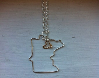 Minnesota necklace, state outline