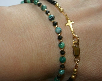TURQUOISE  BLACK  SPINEL And Gold Fill Bracelet