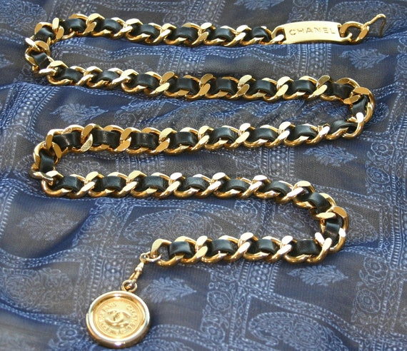 CHANEL CHAIN BELT, Chanel Black Leather Chain Belt