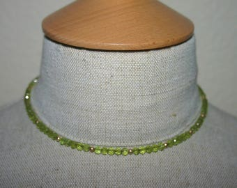 PERIDOT FACETED NECKLACE...Micro Faceted 4 mm Round Stones