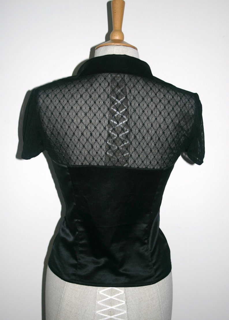 Black Silky Fitted Blouse,Morgan Black Silky Blouse,1940/'s 1950/'s Pin Up BLACK FITTED BLOUSE