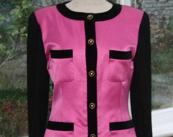 BLACK  CHANEL JACKET With Pink  Satin Front