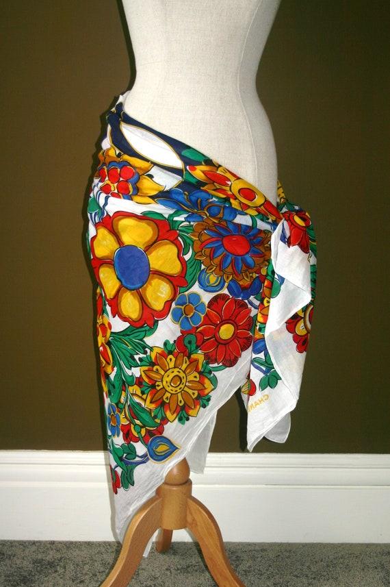 CHANEL BEACH SARONG...Chanel Flower Print Sarong,