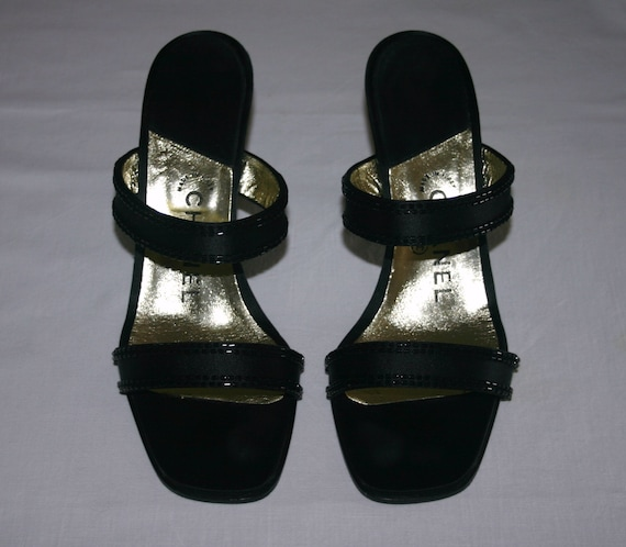 CHANEL BLACK SATIN Shoes...Chanel black satin and