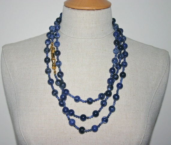 CHANEL SEMIPRECIOUS NECKLACE, Chanel Blue Beads, C